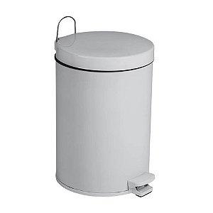 Lixeira De Pedal  5,5 Litros Aço Pintado Com Balde Tampa Cozinha Banheiro - Purimax - Cinza