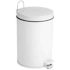 Lixeira De Pedal  5,5 Litros Aço Pintado Com Balde Tampa Cozinha Banheiro - Purimax - Branco