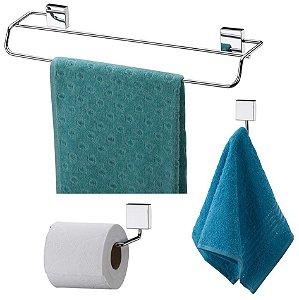 Kit Banheiro Toalheiro Duplo 45cm + Gancho + Porta Papel Higiênico Aço Inox - Future