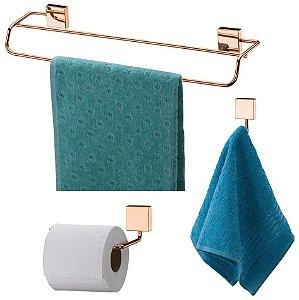 Kit Banheiro Toalheiro Duplo 45cm + Gancho + Porta Papel Higiênico Rosé Gold - Future