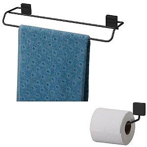Kit Banheiro Toalheiro Duplo 45cm + Suporte Papel Higiênico Preto Nero - Future