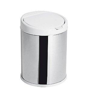 Lixeira Inox 3 Litros Tampa Click Com Balde Removível Cesto De Lixo Cozinha - Purimax - Branco