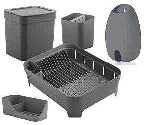 Kit Cozinha Escorredor Louças Talheres Lixeira 4,7L Organizador De Pia Porta Sacolas Chumbo - Ou