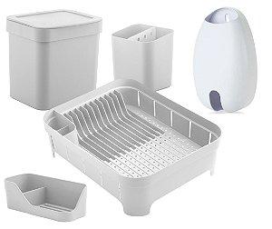 Kit Cozinha Escorredor Louças Talheres Lixeira 4,7L Organizador De Pia Porta Sacolas Branco - Ou