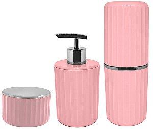 Kit Banheiro 3 Peças Porta Escova Algodão Cotonete Dispenser Sabonete Líquido Groove Cromado Rosa - Ou