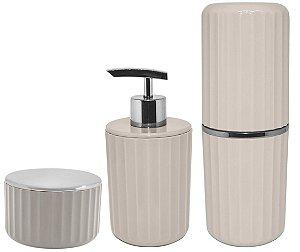 Kit Banheiro 3 Peças Porta Escova Algodão Cotonete Dispenser Sabonete Líquido Groove Cromado Bege - Ou