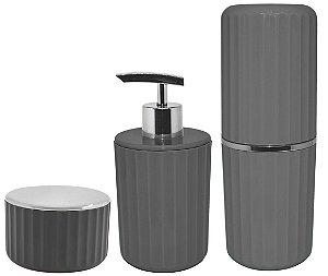 Kit Banheiro 3 Peças Porta Escova Algodão Cotonete Dispenser Sabonete Líquido Groove Cromado Chumbo - Ou