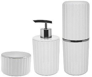 Kit Banheiro 3 Peças Porta Escova Algodão Cotonete Dispenser Sabonete Líquido Groove Cromado Branco - Ou