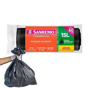 Sacos Para Lixo 60un Em Rolo 15 Litros Fundo Reforçado Cozinha Lixeira Banheiro - Sanremo
