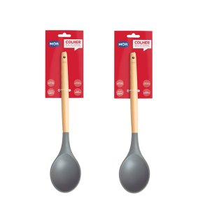 Kit 2 Utensílios Colheres Silicone Talheres Culinário 31cm Cabo Madeira Cozinha - Mor - Cinza
