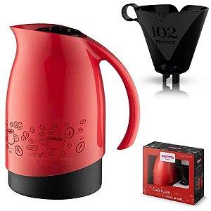 Conjunto Bule Térmico 700ml Filtro Coador Café Passado Decorado Cuidar - SR101162 Sanremo - Vermelho