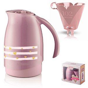 Conjunto Bule Térmico 700ml Filtro Coador Café Passado Decorado Cuidar - SR101160 Sanremo - Rosa