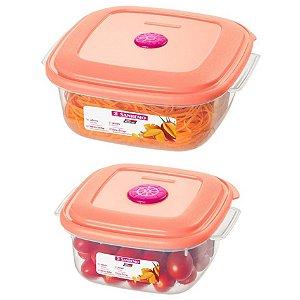 Conjunto 2 Potes Plástico Alimentos Mantimentos Geladeira Cozinha - 455/22 Sanremo - Rosa