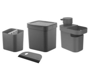 Kit Cozinha Dispenser Detergente Porta Esponja Rodinho Lixeira 2,5L Pia Escorredor Talheres - Ou - Chumbo