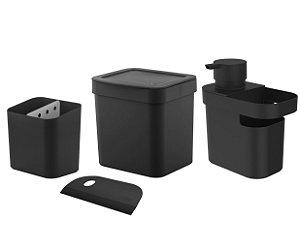 Kit Cozinha Dispenser Detergente Porta Esponja Rodinho Lixeira 2,5L Pia Escorredor Talheres - Ou - Preto