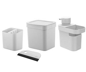 Kit Cozinha Dispenser Detergente Porta Esponja Rodinho Lixeira 2,5L Pia Escorredor Talheres - Ou - Branco