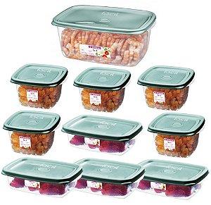 Conjunto 10 Potes Hermético Plástico Alimentos Mantimentos Cozinha - SR10/16 Sanremo - Verde Menta
