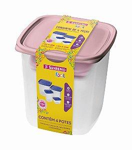 Conjunto 4 Potes Hermético Plástico Alimentos Mantimentos Cozinha - SR148/6C Sanremo - Rosa