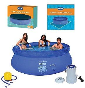 Kit Piscina Inflável Splash Fun 2400 L + Capa + Forro + Filtro + Inflador - Mor