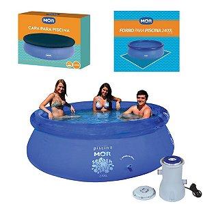 Kit Piscina Inflável Splash Fun 2400 L + Capa + Forro + Filtro - Mor