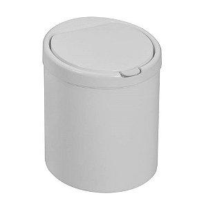 Lixeira Plástica 3 Litros Com Tampa Click Cesto De Lixo Pia Cozinha - Purimax - Branco