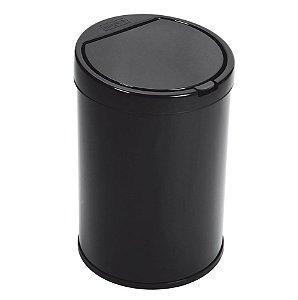 Lixeira Plástica 7,5 Litros Com Tampa Click Cesto De Lixo Cozinha - Purimax - Preto