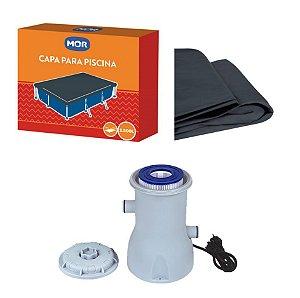 Kit Filtro Bomba + Capa Para Piscina Premium 2500 Litros - Mor