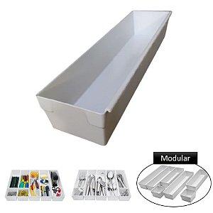Organizador Gaveta Módulo MÉDIO Plástico Porta Utensílios Talheres Modular - Purimax - Branco