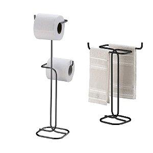 Kit Porta Papel Higiênico Duplo Chão + Toalheiro Bancada - 1176OX Preto Onix Future