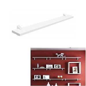 Prateleira Concept Parede Branco 60x10cm Porta Quadro Retratos Livro - Pratk