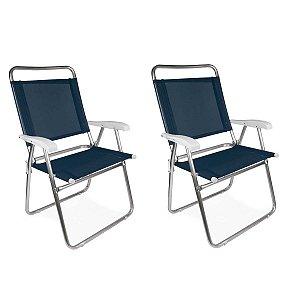 Kit 2 Cadeiras Alumínio Praia Encosto Alto Até 120Kg Piscina Camping Master Plus - Mor - Azul