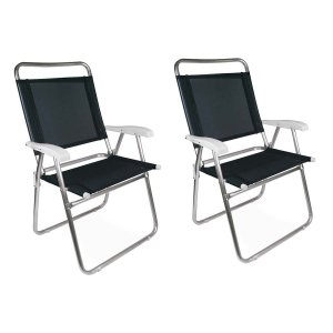 Kit 2 Cadeiras Alumínio Praia Encosto Alto Até 120Kg Piscina Camping Master Plus - Mor - preto