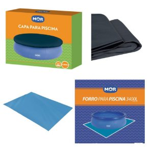 Kit Capa + Forro Para Piscina Splash Fun 3400 Litros - Mor