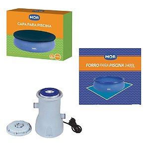 Kit Filtro 2200 L/h + Capa + Forro Para Piscina Splash Fun 3400 L - Mor