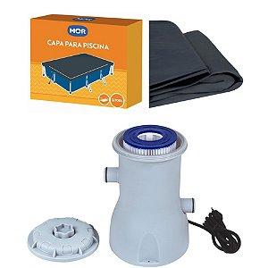Kit Filtro 2200 L/h + Capa Para Piscina Premium 3700 Litros - Mor