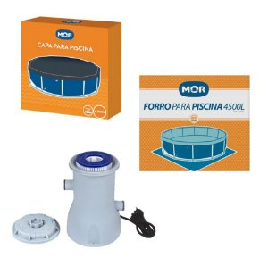 Kit Filtro + Capa + Forro Para Piscina Redonda 4500 Litros - Mor