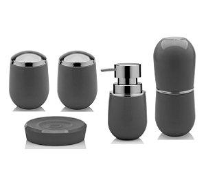 Kit Banheiro Belly Pia Dispenser Sabonete Saboneteira Porta Escova Algodão Cotonete Chumbo - Ou