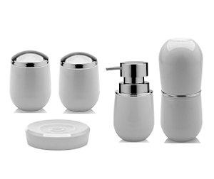 Kit Banheiro Belly Pia Dispenser Sabonete Saboneteira Porta Escova Algodão Cotonete Branco - Ou