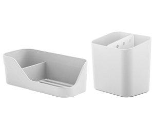 Kit Cozinha Esorredor De Talheres Organizador De Pia Porta Detergente Esponja Branco - Ou