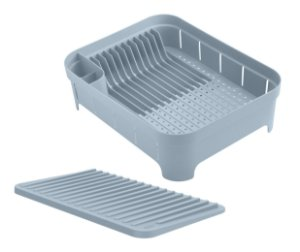 Kit Cozinha 2 Escorredor Organizador De Louças Talheres Copos Azul Glacial - Ou