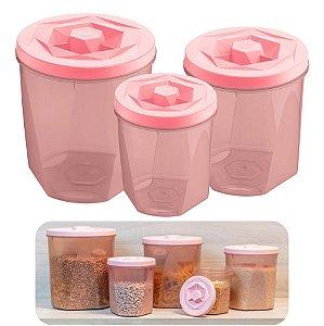 Kit 3 Pote Porta Mantimentos Alimentos Com Tampa Cozinha Armário - UZ1882 Uz - Rosa