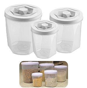 Kit 3 Pote Porta Mantimentos Alimentos Com Tampa Cozinha Armário - UZ1882 Uz - Branco