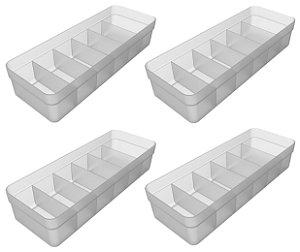 Kit 4 Organizador De Gavetas Plástico Quarto Cozinha Multiuso Objetos Natural - Ou