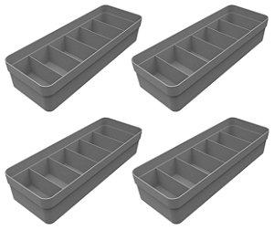 Kit 4 Organizador De Gavetas Plástico Quarto Cozinha Multiuso Objetos Chumbo  - Ou
