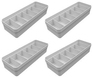 Kit 4 Organizador De Gavetas Plástico Quarto Cozinha Multiuso Objetos Branco - Ou