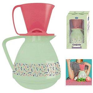 Conjunto Amare Decorado Presente Bule Térmico 650ml + Suporte Coador Café - Mor