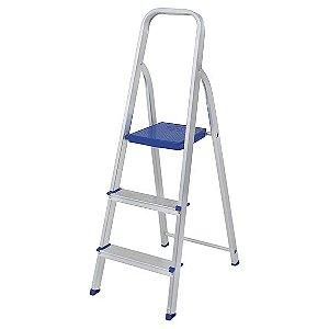 Escada Dobrável 3 Degraus Até 120 Kg De Alumínio 5101 - Mor