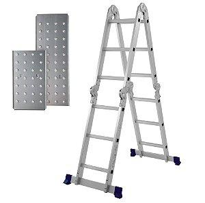 Escada Multifuncional 4x3 Alumínio 12 Degraus Com Plataforma 5133 - Mor
