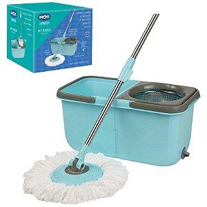 Esfregão Mop Premium Balde Duplo Limpeza Prática Centrifugador Inox - Mor