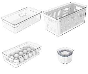 Kit 4 Potes Herméticos Porta Alimentos Mantimentos Com Tampa Respirador - KTE 059 Ou - Natural
